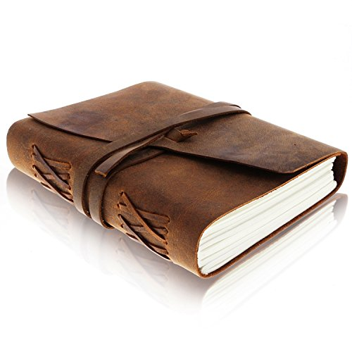 Leather Journal Writing Notebook - Vintage Handmade Bound Notepad for Men & Women - Write in Plain Thick Paper, 7x5 Inches Small Blank Pages - Brown Drawing Sketchbook, Travel Diary, Unlined Note Book