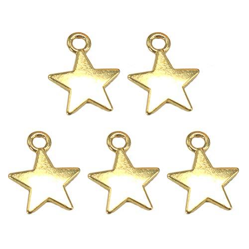 TENDYCOCO 100pcs encantos de aleación encantos de fabricación de joyas colgantes de estrellas de aleación para collar pulsera DIY artesanía dorada