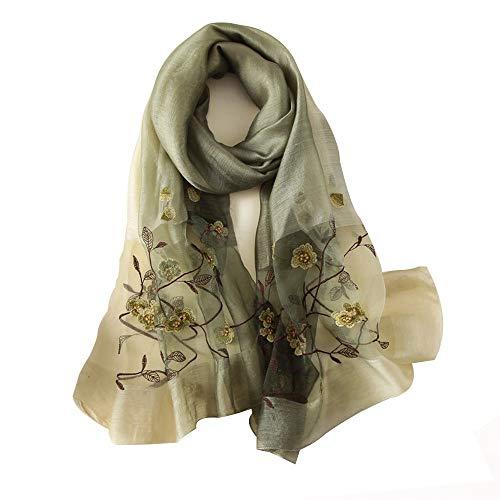 Yingm Bufanda Cálida para Mujer Bufandas de Seda Señoras Bordado Floral Cuello Bufanda Shaf Shap Wrap Long Manta Mantón Uso Multi-Escena (Color : Verde, Size : 80CMx190CM)