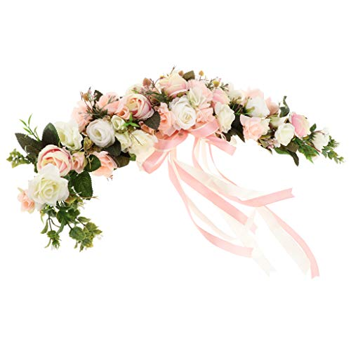 F Fityle Shabby Chic Silk Rose Flower Mirror Porta A Muro Corona Ring Trim Wedding Rattan Leaves Blossom Garland - Rosa e Bianco, 60 x 15 x 9 cm