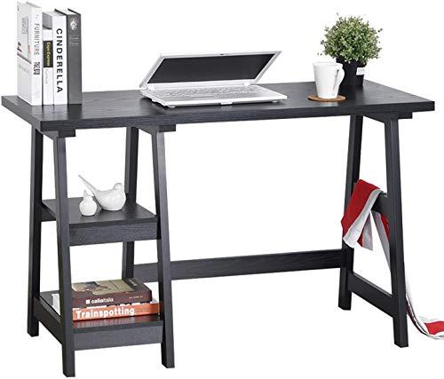 GreenForest Trestle Desk 47' Computer Desk Home Office Desk with Storage Bookshelf Modern Study Writing Laptop Table, Black