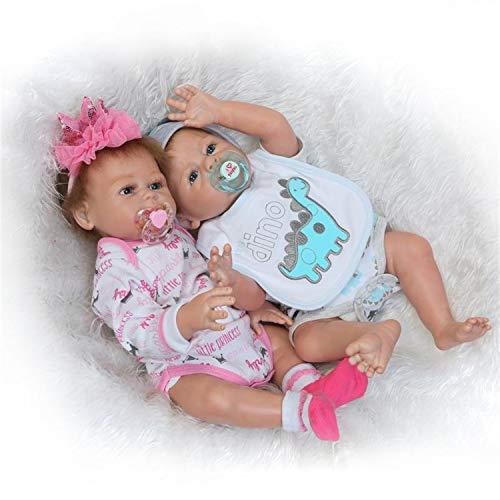 Binxing Toys Muñecas Reborn de Silicona de Cuerpo Completo Gemelas anatómicamente correctas 20 Pulgadas Niño + Niña