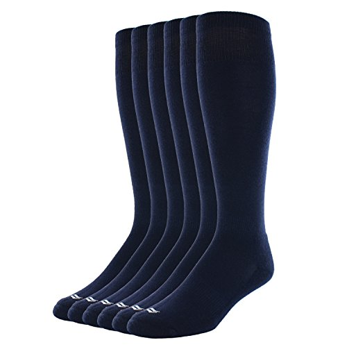 Sof Sole Soccer Over-The-Calf Team Athletic Performance Socks for Men and Youth (6 Pairs), Men's 10-12.5, Navy
