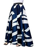 Afibi Women Chiffon Mopping Floor Length Big Hem Solid Beach High-Waist Maxi Skirt (Small, Navy Blue)