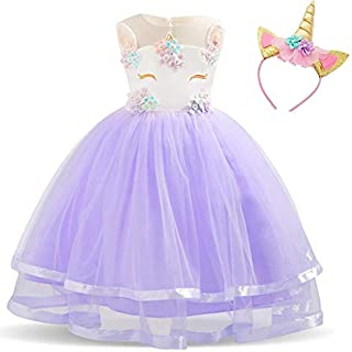 Baby Kids Unicorn Dress for Girls Children Girl Carnival Party Dresses Wedding Fancy Princess Girls Clothes With Headband