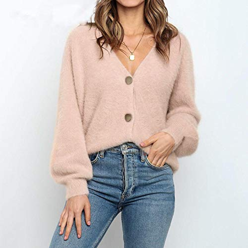Moda Sudaderas Jersey Sweater Elegante Suéter De Mohair De Manga Larga para Mujer, Nuevo Cárdigan Corto De Un Solo Pecho para Mujer, Prendas De Vestir De Punto Suaves Y Flexibles, Talla Única Rosa