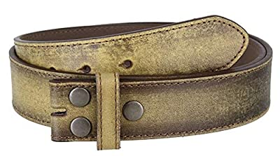"Classic Vintage Casual Jean Italian Leather Replacement Belt Strap 1 1/2"" Wide (S(30""-32""), Tan)"
