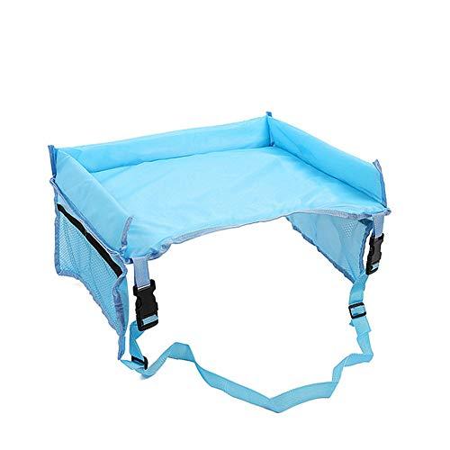HHzha Vassoio da Viaggio Forte E Robusto Materiali di Alta qualità Tavolino Auto per Bambini Collassabile Risparmiare Spazio Vassoio da Viaggio per Bambini Auto Blue