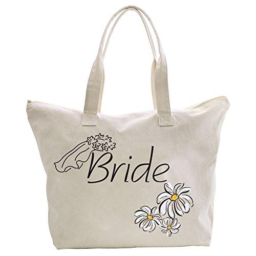 ElegantPark Bridesmaid Tote Bag Daisy for Wedding Gifts Zip Canvas Cotton 2 Pcs