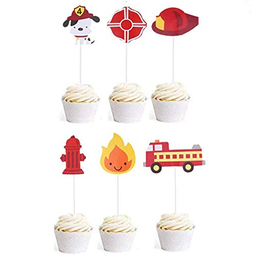 Finduat 36 Pcs Fireman Themed Cupcake Toppers Fire Truck Firefighter Hat Shield Fire Hydrants Flame Cupcake Toppers Cake Picks for Baby Shower Birthday Party