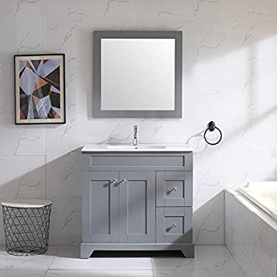 "Wonline 36"" Grey Bathroom Vanity and Sink Combo Cabinet Undermount Ceramic Vessel Sink Chrome Faucet Drain with Mirror Vanities Set"