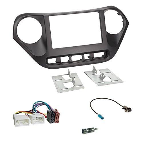 Carmedio Hyundai i10 Typ IA ab 13 2-DIN Autoradio Einbauset in original Plug&Play Qualität mit Antennenadapter Radioanschlusskabel Zubehör und Radioblende Einbaurahmen schwarz