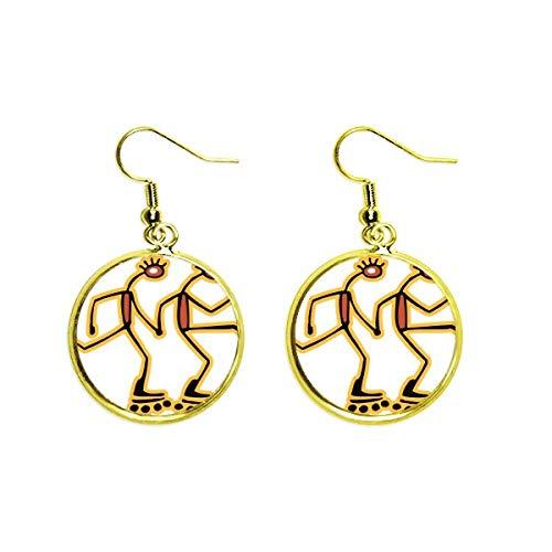 Ohrringe mit Ägypten-Figur, Rollschuh-Muster, goldfarben, für Damen