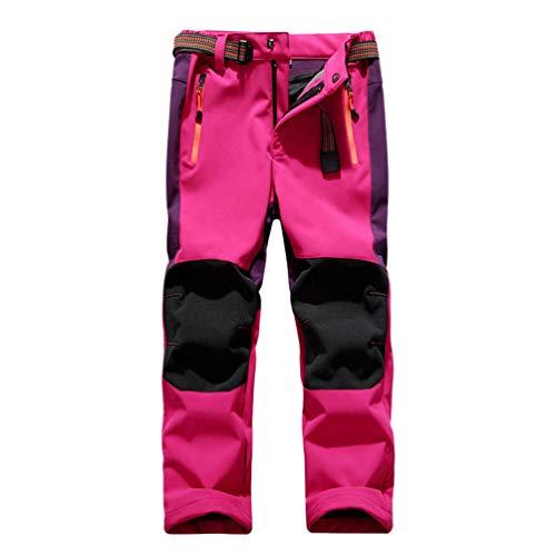 LaoZan Sintético Cachemir Pantalones Senderismo Niño Niña Pantalon Softshell Impermeable Transpirable Pantalones Trekking Montaña (Pink#1,XL)