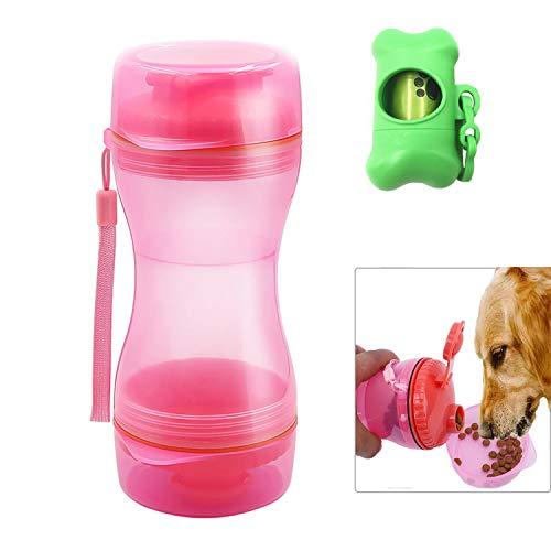 GOTONE Borraccia per alimenti per cani da passeggio per escursioni, campeggio, contenitore per alimenti per animali domestici portatile 2 in 1 all'aperto e distributore di sacchetti per rifiuti