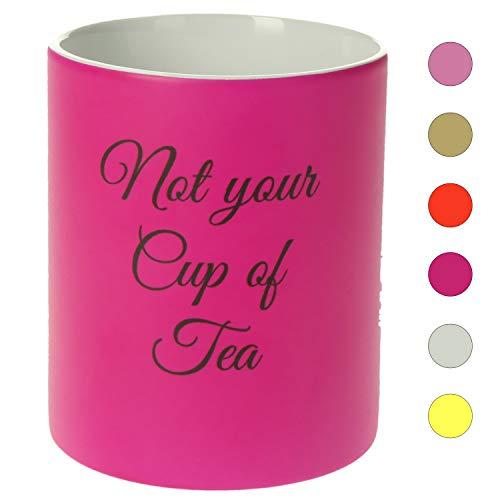 Personalisierte Tasse mit Namen | 0,3 l Farbige Kaffeetasse Teetasse mit eigenem Text zum selbst beschriften Geschenkidee für jeden Anlass (Neon Pink)