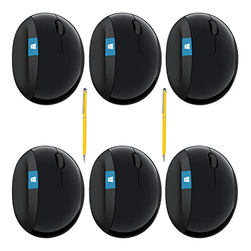 Microsoft Sculpt Wireless Ergonomic Mouse Bundle for Computers and Laptops with Fast Scrolling (L6V-00001) (6-Pack + Stylus)