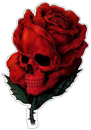 Rose Skull Aufkleber Sticker Schädel Totenkopf Blumen Autoaufkleber Rosen JDM Tuning Stickerbomb ca. 12x8 cm