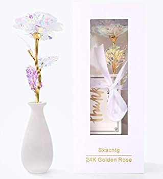 Sxacntg Galaxy Rose Forever Flower with Vase
