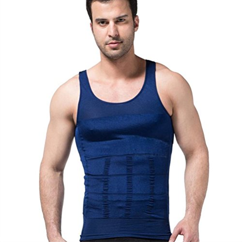 FS Mens Tights Compression Body Shaper Sports Muscle Tank Top Abs Abdomen Slim Blue,S