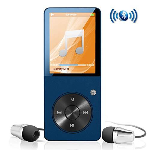 MP3-Player mit Bluetooth ES Traders® 8 GB tragbarer Mini-Digital-Musik-Player FM-Radio, Fotobrowsing, Video-Wiedergabe, Schrittzähler, Textlesung, unterstützt 64 GB SD-Karte (über 18.000 Songs)