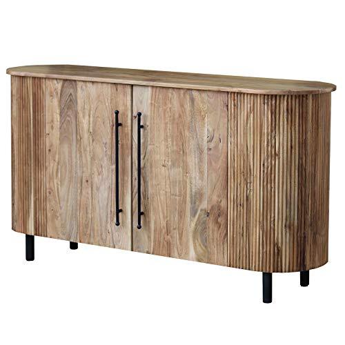 MÖBEL IDEAL Sideboard im Ovalen Lamellen Design - Akazie Massivholz/Metall Griffe & Füße - Kommode 160 x 45 x 71 cm