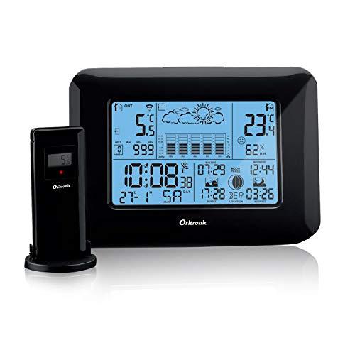 Oritronic Wetterstation Funk mit Außensensor, Wetterstationen innen und außentemperatur Funk mit Außensensor, digital Hygrometer für Innen, betrieben Uhr mit Thermometer(schwarz)