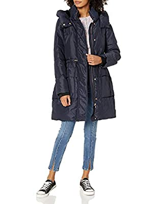 Jessica Simpson Women's Long Puffer Jacket, Hooded Navy, M by Jessica Simpson