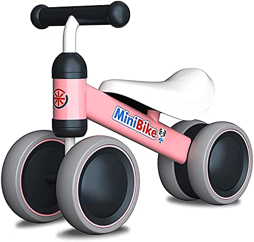 XIAPIA Bicicletta Senza Pedali Bicicletta Equilibrio per Bambini 1-2 Anni Triciclo Bambini Prima Bici Senza Pedali (Pink)