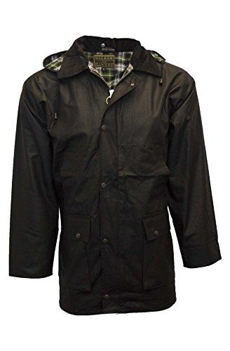 Walker & Hawkes - Mens Unpadded Wax Jacket Countrywear Hunting Waxed Coat - Black - XX-Large