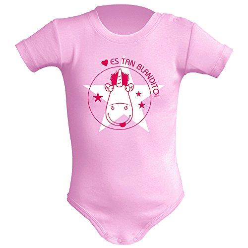 Body bebé unisex. Parodia Unicornio Minions - Es tan blandito! Regalo original. Body bebé divertido. Body friki. Manga corta. (6 meses, Rosa)