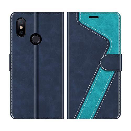 MOBESV Handyhülle für Xiaomi Mi A2 Hülle Leder, Xiaomi Mi A2 Klapphülle Handytasche Hülle für Xiaomi Mi A2 Handy Hüllen, Modisch Blau