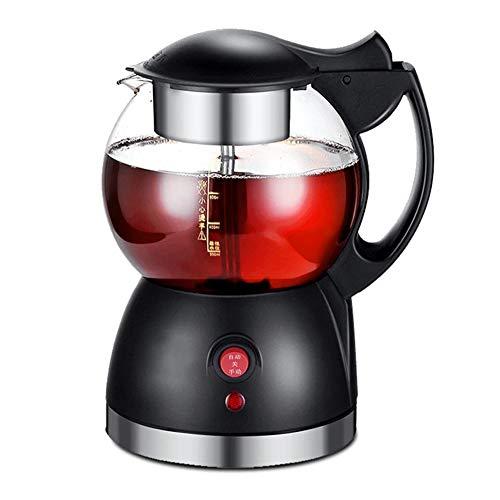 BCXGS Teekocher mit Permanent-Edelstahl-Teefilter (herausnehmbar), Glas-Tee-/Wasserkocher, 360 ° drehbare Steckverbindung, schwarz, Glas