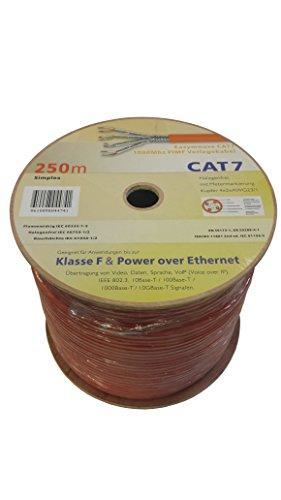 Easymouse CAT 7 250m Simplex Gigabit Ethernet Netzwerkkabel, 23/1 AWG Kupfer S/FTP PiMF Verlegekabel mit Metermarkierung auf Kabeltrommel, Internet LAN, POE, VoIP, Daten-, Videoübertragung bis 1000MHz