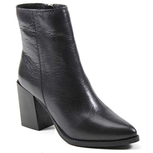 Diba True Women's Tall Toes Genuine Leather Ankle Bootie (8, Black)
