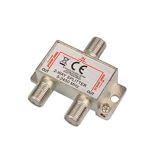 2-Fach SAT & BK-Verteiler Splitter F-Serie, 5-2400 MHz 85 dB, voll geschirmt, Unicable & HD tauglich für Satelliten-Anlagen DVB-S2, BK, UKW Radio, DC-Durchlass, Fernseh-Verteiler, Stamm-Verteiler