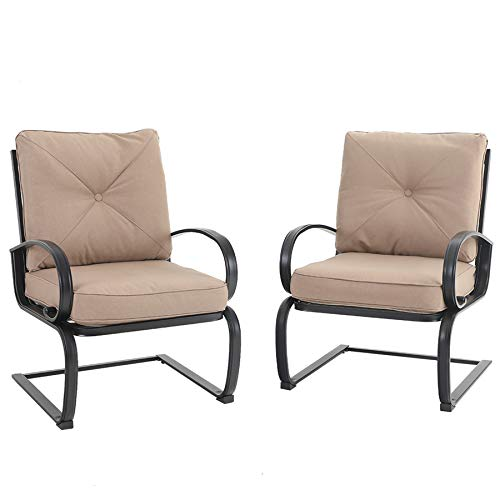MFSTUDIO 2PCS Patio Bistro Dining Spring Motion Chairs Outdoor Furniture for Backyard, Garden with Removable Cushion Seat, Metal Frame, Beige