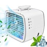 Mini Climatiseur Portable de 480 ml, 4 en 1 Ventilateur/Air Humidificateur/Conditionneur/7 Lumières LED,...