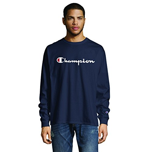 Champion Men's Classic Graphic Long Sleeve TEE, Navy, 2X Large