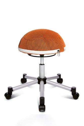 Topstar Sitness Half Ball, Fitness-Hocker, Arbeitshocker, Rollhocker, Dreidimensional bewegliche Sitzfläche, Stoffbezug, orange