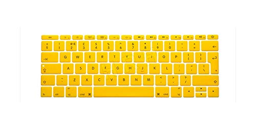 For Newest Macbook Pro 13 Inch Keyboard Cover Skin 2017 Eu Layout English Protective A1708 No Touch Bar Release October 2016-Yellow