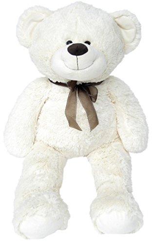 Wagner 9021 - XXL Plüschbär Teddy Bär - 100 cm groß - weiß - Teddybär Kuscheltier Kuschelbär