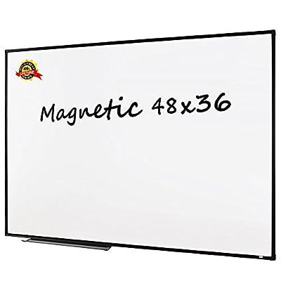 Lockways Magnetic Whiteboard White Board, Dry Erase Board 48 x 36 Inch, Black Aluminium Frame