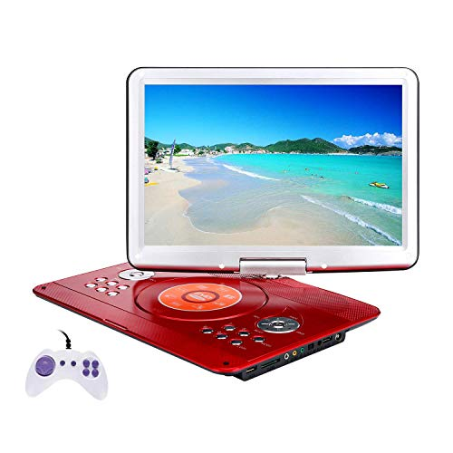 YOOHOO 16.9'' Portable DVD Player with Remote Controller, 14.1'' HD Swivel Large Screen,6 Hours Rechargeable Battery,Supports SD Card..USB Port (Red)