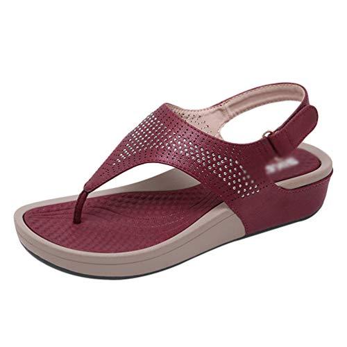 Yijinstyle Casual Sandaletten Klettverschluss Sandalen Peep-Toe Flip Flops Strass T-Strap Hausschuhe für Frauen (Rot, 38.5 EU)