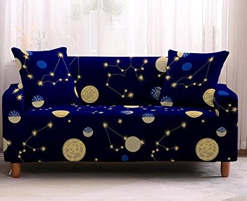 Funda de sofá de 4 Plazas Funda Elástica para Sofá Poliéster Suave Sofá Funda sofá Antideslizante Protector Cubierta de Muebles Elástica Patrón de constelación Azul Funda de sofá