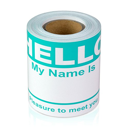 Turquoise Hello My Name is Name Badge Tag Labels Stickers - 1 Roll