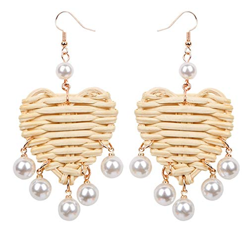 Liqiqi - Pendientes de Perlas de ratán para Mujer, diseño de corazón, Hechos a Mano, para Disfraz, para Mujer, para Todos los días, para la Playa, para Mujeres