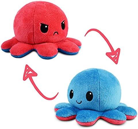 TeeTurtle   The Original Reversible Octopus Plushie   Patented Design   Light Blue + Dark Blue   Day + Night   Show Y...