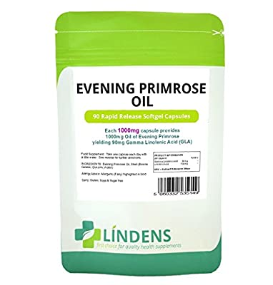 Evening Primrose Oil 1000mg DOUBLE PACK 180 Caps Vitamin E Gamma Linolenic Acid by Lindens Health and Nutrition Ltd